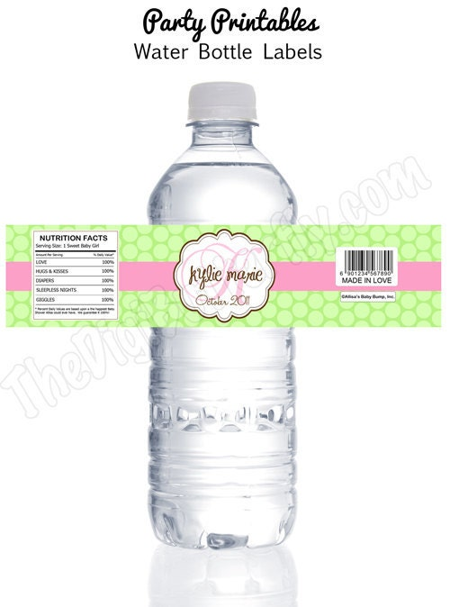 Custom water bottle labels baby shower for Personalized water bottle label template