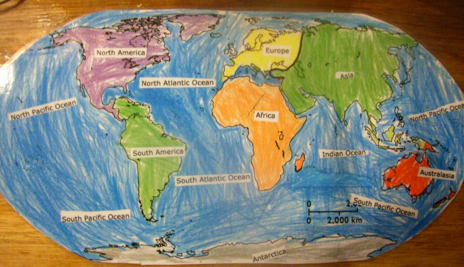 World Map Continents And Oceans - Map showing continents and oceans