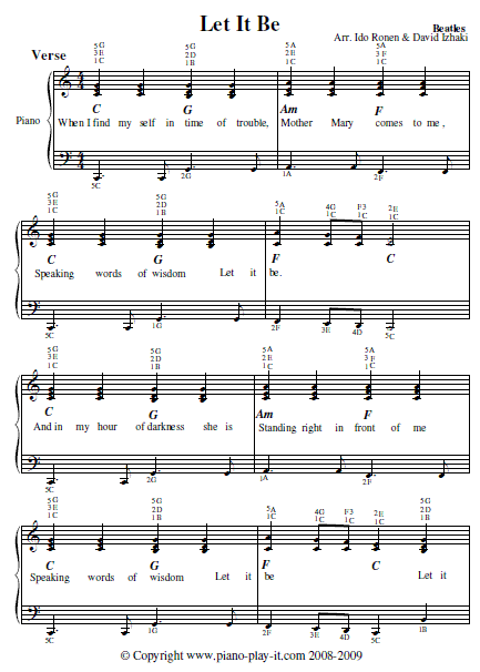 Let It Be The Beatles Lyrics And Chords