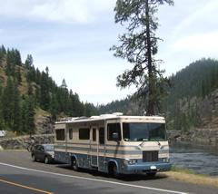 Motorhome with car